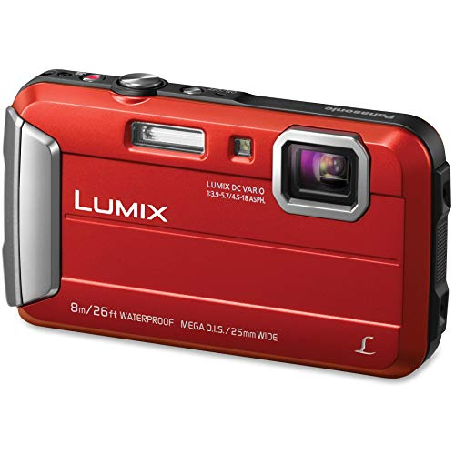 Panasonic LUMIX Waterproof Digital Camera Underwater Camcorder with Optical Image Stabilizer, Time Lapse, Torch Light and 220MB Built-In Memory – DMC-TS30R (Red)