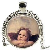 Colgante collar de cristal de Raphael pintura Sistine Madonna regalo religioso espiritual Jewerly cadena