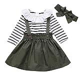 DaMohony - set di vestiti per bambina a maniche lunghe, pagliaccetto a righe, gonna con bretelle e fascia, per bambina, 3 pezzi Verde 90 cm (6-12 Mesi)
