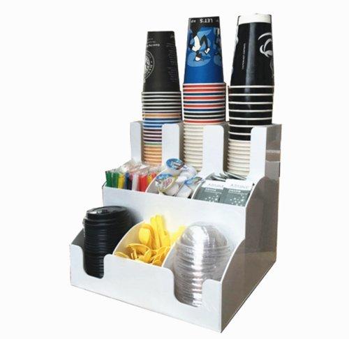Beker & Deksel Dispenser Organizer Koffie Condiment Houder Caddy Koffie Cup Rekken 9 lattiek Kleur: wit