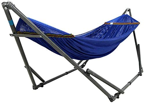 Tranquillo AX59 Adjustable Foldable Polyester Net and Carry Bag Hammock Stands Double Blue product image