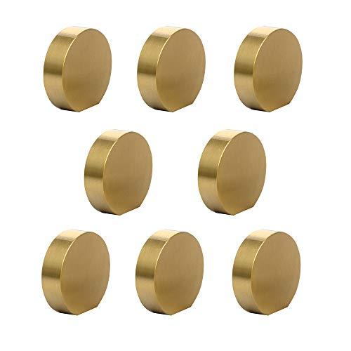 "RZDEAL Solid Brass Drawer Knobs Simple Brushed Gold Kitchen Bathroom Cabinets Knob and Handles,Cupboard Pulls (Pack of 8, 1.0""x9/10"")"