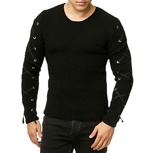 eipogp Men's Casual Slim Fit Knitted Sweaters Crew Neck Pullover Sweaters Jumper Sleeve Cross Lace up Winter Warm Blouse Black