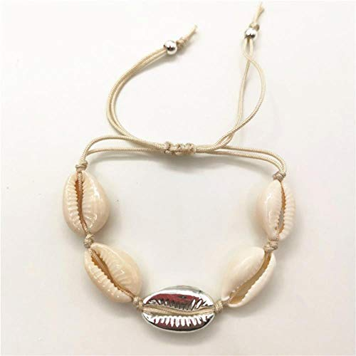 ShAwng Fashion Natural Cowrie Shell Charm Bracelet for Women Gold Color Metal Bead Chain Bracelet Girl Gift Beach Jewelry,silver 1 weizhu