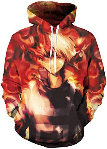 Flychen Homme 3d Sweats à Capuche My Hero Academia Boku No Hero Academia Fans Sweat Manga Japonais Pullover Déguisement Flamme Fondue 5 L