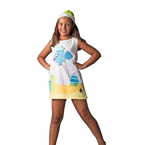 VOGANTO dziecięca kolekcja dziewczęca sukienka letnia z bawełny biała Paguri Ryba