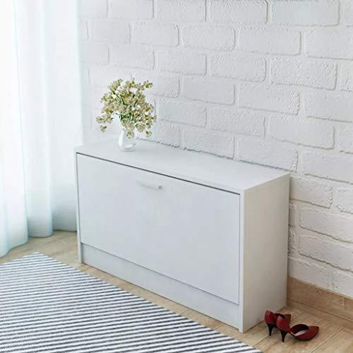 Cikonielf Zapatero para ahorrar espacio, de madera, 80 x 24 x 45 cm, zapatero con 1 puerta abatible para aproximadamente 5 – 6 pares de zapatos-blanco