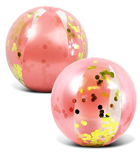 CoTa Global Inflatable Large Beach Ball Pool Accessory Glitter Confetti 16 Inch Premium Beach Theme Water Sand Toy Favors Beach Party Decoration - Pool Party Supplies Beach Balls -Set of 2 (Rose Gold)