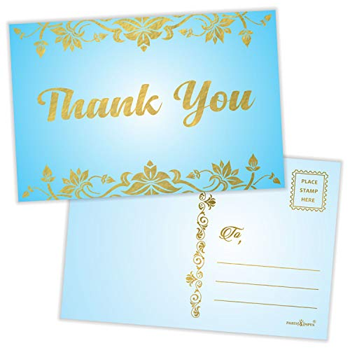 """Thank You Postcards (Pack of 50) Gold Foil Letterpress with Mailing Side 4""""x6"""" All Occasion Mailable - Sky Blue"""
