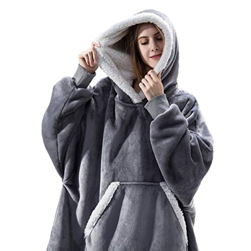 HOUADDY Sudadera de gran tamaño, con capucha Sherpa, súper suave, cálida, cómoda, gigante, con bolsillo frontal grande, talla única, para todos los hombres y mujeres, color gris