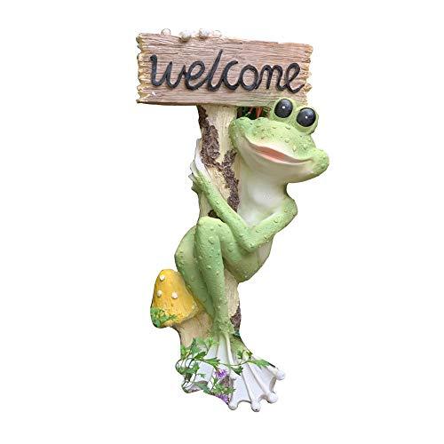 no brand Sculpture De Jardin Grenouille Bienvenue Statue Signe De Salutation Accessoires De Jardin Siège Social Extérieur Miniature Statue Décoration De Jardin (Couleur : C1, Taille : 21x16x48cm)