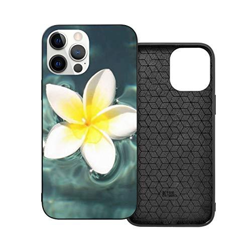 VEELFF Plumeria - Carcasa para iPhone 12 de 6,1 pulgadas, diseño de flotador en la piscina, delgada, a prueba de golpes, suave goma de poliuretano termoplástico, carcasa de silicona