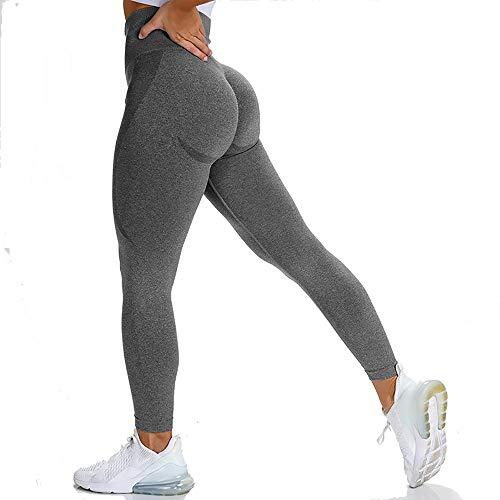 J.May Damen Sport Leggings Lange Blickdicht Sporthose Yogahose Fitnesshose Streetwear Strumpfhosen mit Hohe Taille für Workout Gymnastik Yoga (Grau, L)
