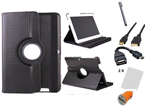 Theoutlettablet® Hülle für Das Tablet BQ Edison 3 10,1 Zoll Pack 7 en 1 Schwarz