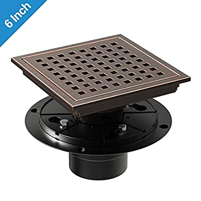WEBANG 6 Inch Square Shower Floor Drain with Tile Insert Grate Removable, SUS 304 Stainless Steel, Bronze