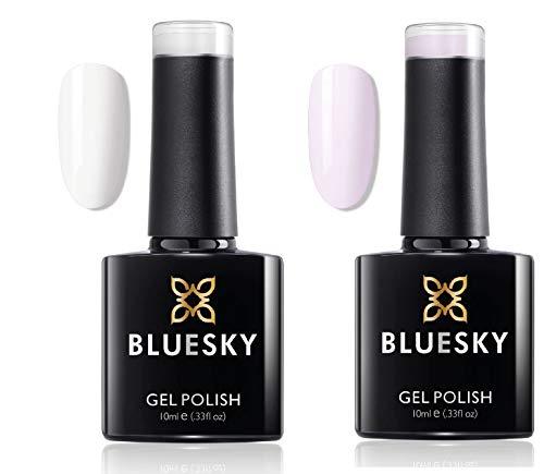 Bluesky UV LED Gel auflösbarer Nagellack 10ml french manicure kit studio white and clearly pink, 1er Pack (2 x 10 ml)
