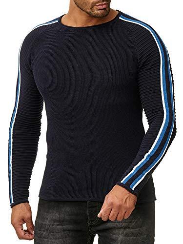 Red Bridge Herren Strickpullover Streifen Pullover Ribbed Striped Navy Blau L