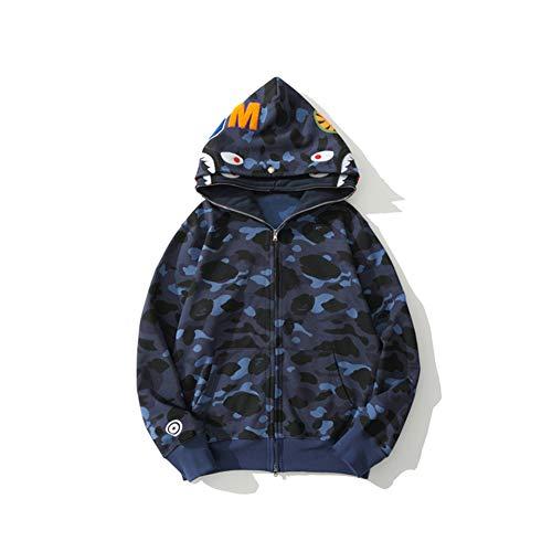Cool Shark Head Classic Doppio Cappuccio Camouflage Maglione Moda Felpa Con Cappuccio Street Hot Jacket Blu Colore 3XL