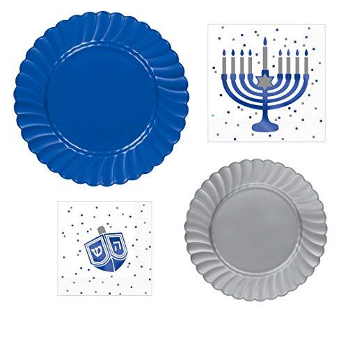Hanukkah Party Supplies | Tableware Bundle Includes Plates & Napkins for 12 People | Royal Blue and Silver Menorah and Dreidel Design