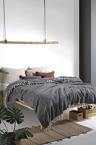 Dream Tagesdecke Überwurf Decke - Wohndecke - perfekt für Bett & Sofa, 100prozent Baumwolle - handgefertigte Fransen, 200x240 cm (Schwarz)