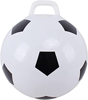 NUOBESTY 45cm Kids Hopper Ball Inflatable Soccer Ball Shaped Sit Bounce Ball with Handle Sports Hopping Ball Toy for Kids ...
