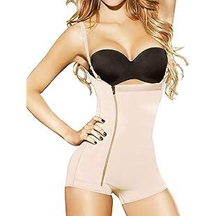 YIANNA Women Seamless Firm Control Shapewear Open Bust Bodysuit Slimming Body Shaper Briefer, UK-YA7110-Beige-L
