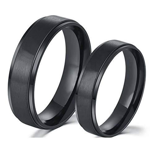 Malinmay Couple Gift Set, High Polished Black Brushed Ring Comfort FitStainless Steel Couple Ring Sets for Couples Wedding Promise Anniversary
