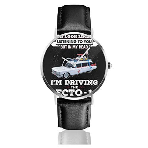 Unisex Business Casual May Look Like Ecto 1 Ghostbusters Armbanduhr Quarz Leder mit schwarzem Lederband für Männer und Frauen Young Collection Geschenk