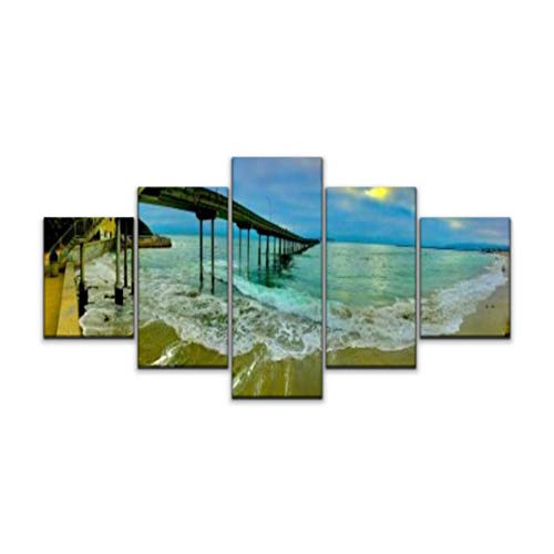 Skipvelo 5 Panels Wall Canvas Prints Pictures, Ocean Beach pier san Francisco Bay Areas and Pictures Wall Paintings Wall Decor Stretched and Framed Ready to Hang