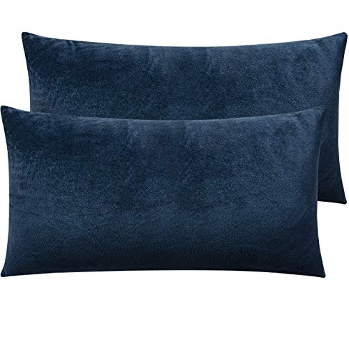 NTBAY Zippered Velvet King Pillowcases, 2 Pack Super Soft and Cozy Luxury Solid Color Pillow Cases, 20 x 36 Inches, Navy Blue