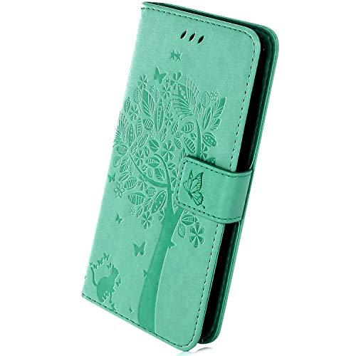 Herbests Kompatibel mit Samsung Galaxy J4 Core Hülle Handyhülle Wallet Flip Hülle Cover Handy-Tasche Prägung Baum Katze Schmetterling Leder Hülle Tasche Schutzhülle Magnetisch Klapphülle, Grün