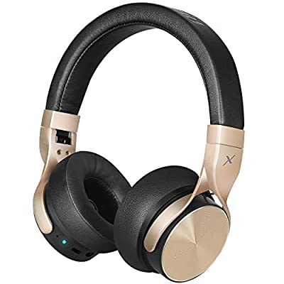 Riwbox BN5 Bluetooth Headphones Over Ear, Folding Stereo Headphones Wired Wireless with Mic Compatible for iPhone/iPad/TV/PC/Online Class/Home Office (Black&Gold) from Riwbox