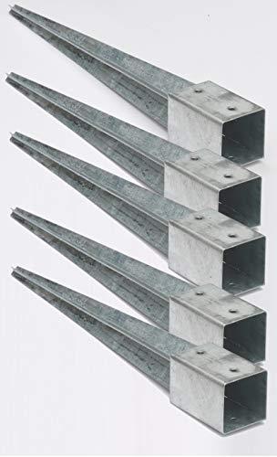 5 Stück 90 mm Bodenhülsen Einschlaghülsen Pfostenträger 75 cm lang Holz-Lamellenzaun