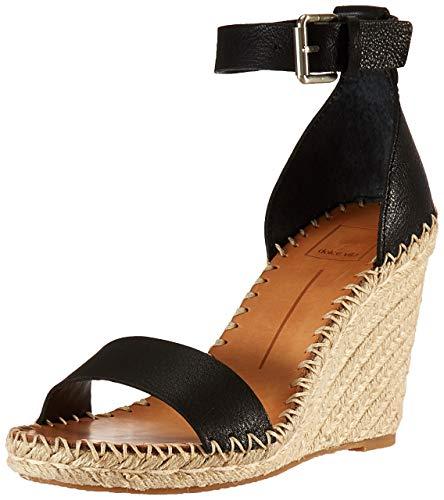 Dolce Vita Women's Noor Wedge Sandal, Black Leather, 9.5 M US