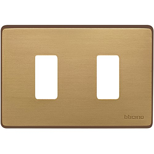 BTicino 503/2/BR Placca Magic 2 posti, Bronzo, Bipolare