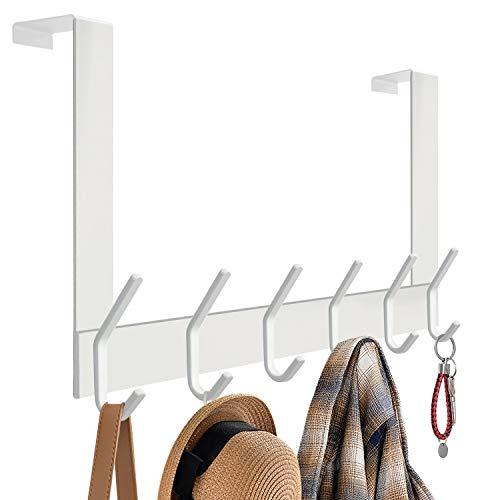 DOKU Over The Door Hook, Stainless Steel Heavy Duty Over Door Hanger Holder for Coat Robe Hat Clothe Towels Hanging, Bathroom Organizer Towel Rack 12 Hooks, White