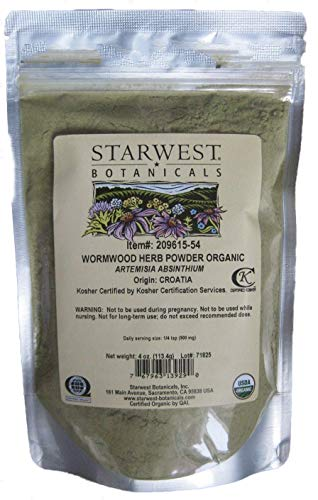 BlueArrowExpress Wormwood Herb Powder Organic (Artemisia Absinthium) 4oz Sealed Pkg