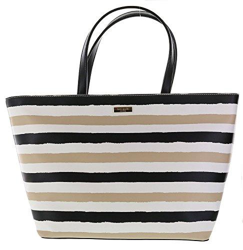 Kate Spade Grant Street Jules Grainy Vinyl Striped Tote Handbag (Cream/Black/Deco Beige)