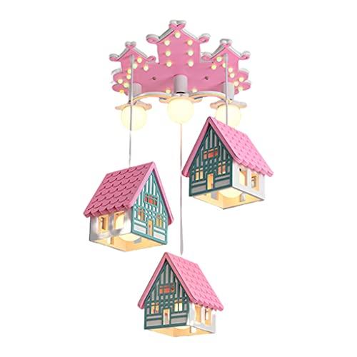 Lámpara De Techo para Habitación De Princesa Lámpara De Dibujos Animados Creativa para Dormitorio De Niñas Bombilla Monocromática De 42 W con Control Remoto (Color : Pink, Size : 50 * 43cm)