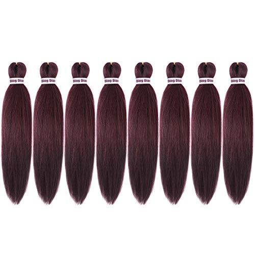 Ding Dian Pre Stretched Braiding Hair 20'-8 Packs Braid Synthetic Hair Hot Water Setting Braiding Hair Yaki Texture Hair Extensions (99J)
