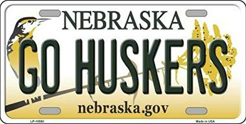 Lotusworld go huskers nebraska state background novelty license plate license plate 6x12 inches