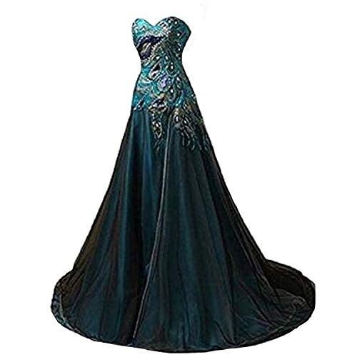 Fair Lady Peacock Prom Dresses Long Side Split Evening Party Gown Formal Dress (Apparel)