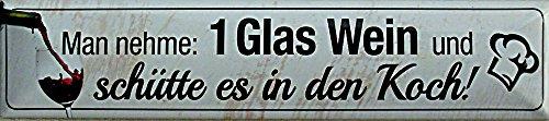 1 Verre de vin dans les Plaque de rue Aimant en fer-blanc 16 x 3,5 cm Str de cuisson M 21