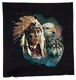Geile-Fun-T-Shirts geil bedrucktes Zierkissen Indianer Kissen (ohne Füllung) - Indianer mit Wolf...