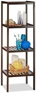 Relaxdays Estantería de baño bambú con 4 estantes, 110 x