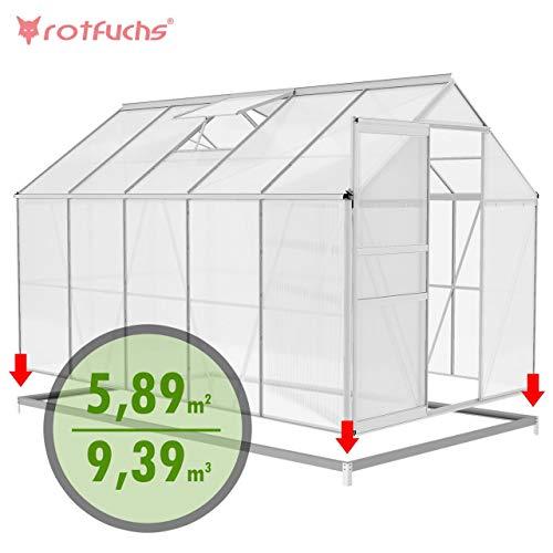 Rotfuchs® Aluminium Gewächshaus 9,39 m³ - 3,10 x 1,90 m inkl. Fundament Treibhaus Frühbeet Gartenhaus Tomatenhaus Pflanzenhaus Extra Stabil