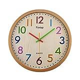 Foxtop Silencieuse sans Tic-tac Enfants Horloge Murale Décorative Colorée Facile à Lire pour Classe École Cuisine Salon Chambre Maternelle (Diamètre: 30 cm)