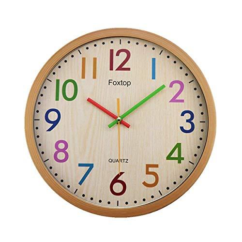 Foxtop Orologio da Parete Bambini Silenzioso con Colorato Design Decorazione a Muro per Soggiorno Camere da Letto Cucine Ufficio Scuola 30 cm