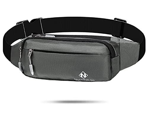 Natseekgo Cinturón de correr con correa elástica ajustable impermeable, cintura a prueba de sudor con gran capacidad, perfecto para correr y actividades al aire libre, Style 2-grey, Talla única,