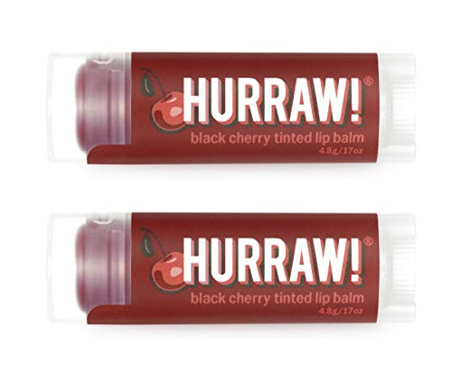 Hurraw! Black Cherry Tinted Lip Balm, 2 Pack: Organic, Certified Vegan, Cruelty and Gluten Free. Non-GMO, 100% Natural Ingredients. Bee, Shea, Soy and Palm Free. Made in USA